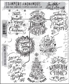 Tim Holtz Cling Rubber Stamps 2016 MINI DOODLE GREETINGS CMS287 zoom image