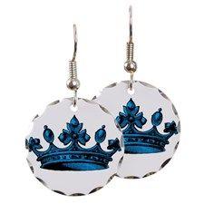 Crown Light Blue Black Earring Circle Charm for