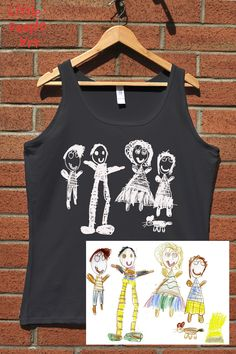 Items similar to Personalized ladies cotton tank top with your child drawing personalized gift custom handmade on Etsy Family Drawing, Drawing For Kids, People Art, Keepsakes, Little People, Family Portraits, Your Child, Screen Printing, Custom Made