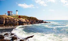 "Cape Neddick's ""Nubble"" lighthouse has shone a distinctive red light since 1879."