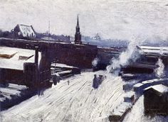 """""""The Station,"""" Dennis Miller Bunker, ca 1886-89, oil on canvas, 14.25 x 18.25"""", private collection."""