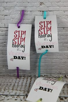 Sip Sip Hooray Valentine's Day Silly Straw Craft Idea - Free Printable - non candy Valentine's Day Idea!