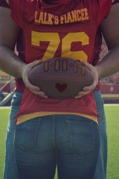 college football engagement photos