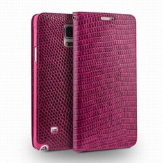 QIALINO Crocodile Pattern Rose Red Leather Case for Samsung Galaxy Note 4 N9100