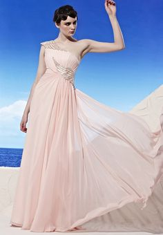 Pink One Shoulder Classic Pleated Evening Prom Formal Ball Gown Dress