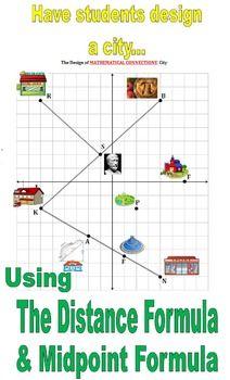 32 City Plan Design Activity Applying Midpoint Distance Formulas Distance Formula Algebra Resources Midpoint Formula
