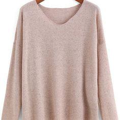 Sweater Pink Fall V Neck Light Soft Sweater