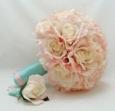 Bridal Bouquet Natural Touch Roses in Blush by SongsFromTheGarden, $110.00