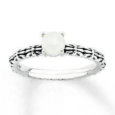 This antique finish sterling silver stackable ring has a white agate center. The band is wide. Agate is usually subject to a dye treatment which may not be permanent. Gently clean by rinsing in warm water and drying with a soft cloth. Black Rings, Yellow Gold Rings, Metal Jewelry, Fine Jewelry, Agate Ring, White Agate, Stackable Rings, Unique Rings, Fashion Rings