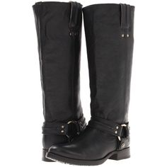 Frye Melissa Harness Women's Pull-on Boots ($278) ❤ liked on Polyvore featuring shoes, boots, black, knee-high boots, black low heel boots, black platform boots, studded boots, pull on boots and black harness boots