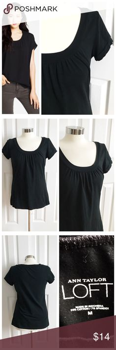 LOFT Black Short Sleeve Shirt Ann Taylor LOFT black short sleeve tshirt with scoop neck and subtle detail at neckline. Stretch to fabric. 98% cotton 2% spandex. Great to wear casually or dress up for work with a blazer! First photo on left not actual item just showing for styling inspiration! LOFT Tops