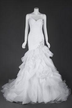 Romantic Strapless Organza Mermaid Wedding Garment Featuring Asymmetrical Pleats and Beaded Appliques