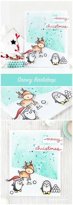 Creating a snowy backdrop for these cute Lawn Fawn critters. Find out more by clicking the following link: http://limedoodledesign.com/2015/09/snowy-backdrop/