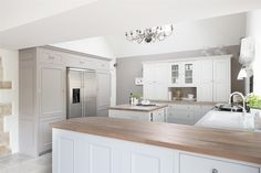 Neptune Chichester Kitchen: like the cupboard around the fridge for storage and then to put things on the island to prep. Open Plan Kitchen, Country Kitchen, New Kitchen, Kitchen Interior, Kitchen Decor, Kitchen Design, Kitchen Ideas, Interior Livingroom, Luxury Kitchens