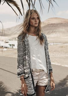Mango enlists the stunning top model Anna Selezneva to pose for denim and the island stories coming from the pages of their Spring 2014 catalogue. Anna Selezneva, Mango Fashion, Look Fashion, Fashion Beauty, Looks Style, Style Me, Boho Style, Mode Outfits, Fashion Outfits
