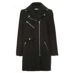 Jeremy Scott Off Centre Zip Coat (1 055 AUD) ❤ liked on Polyvore featuring outerwear, coats, black, jeremy scott and jeremy scott coat