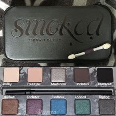 Smoked Urban Decay Palette Some colors have been swatched, some untouched. No cracks or damages, comes with a small urban decay eye shadow brush as pictured. Plastic hasn't even been removed from mirror. A gift, but I don't use the colors. Beautiful palette for any smoky eye addict!!! Urban Decay Makeup Eyeshadow