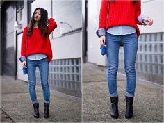 H&M Sweater, Nine West Booties, Zara Jeans, Zara Shirt, Botkier Bag