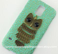 Samsung Galaxy S5 i9600 caseVintage Bronze Owl by sweetapplegarden