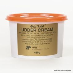 Gold Label Udder Cream A soothing water-miscible udder cream with antibacterial chlorhexidine to maintain good udder condition.