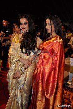 Rekha and Vidya Balan in their kanjeevaram sarees. Wear it in style, wear it with pride..