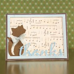 """Cat Thanks"" Card (Site - closed)  (Note: made with Top Dog Dies ""Cool Cats"" [which I have] & ""Thanks Mat"" Dies)"