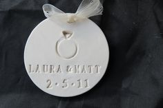 Christmas, Wedding, Engagement, or Anniversary  Porcelain Clay Tag or Ornament with Personalization. $15.00, via Etsy.