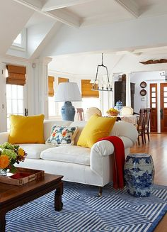 Green Living Rooms | Blue orange, Open floor and Neutral