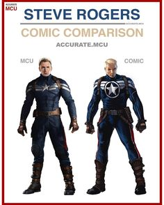 "7,698 curtidas, 66 comentários - • Accurate.MCU • mcu fanpage (@accurate.mcu) no Instagram: ""• STEVE ROGERS - COMIC COMPARISON • This suit is so accurate, the blue, the stripes the red stroke…"""