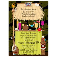 A fantastic invitation for a fun theme! this invitation is designed with a tiki hut in the center of the card and fun tropical drinks at the bar. This invitation for your luau or tropical themed party! Luau Theme Party, Aloha Party, Hawaiian Luau Party, Hawaiian Birthday, Tiki Party, Tropical Party, Beach Party, Hawaiin Theme Party, Hawaiian Bbq
