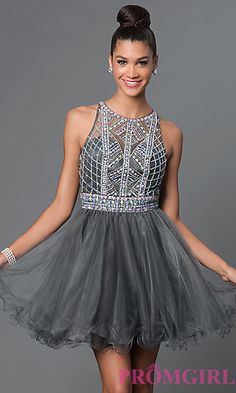 a49fab78266b Open Back Bead Embellished Short Dress by Elizabeth K