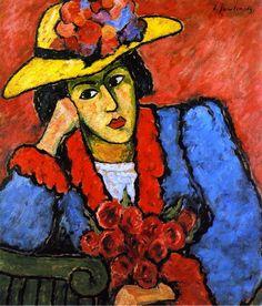 Alexei Jawlensky, Lady in a Yellow Straw Hat on ArtStack #alexei-jawlensky #museumweek