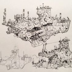 "Great #airship #sketchbook #drawing by the amazing #conceptartist @ianmcque entitled ""Foss Class Cruisers."" Check out Ian's page for more #concept #illustrations of airships #mech #robots #dystopian landscapes cityscapes and many other superb pieces of #artwork."