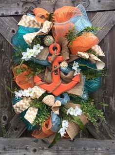 Summer Wreath, Nautical Wreath, Anchor Decoration, Sea Decor, Beach Wreath, Everyday Wreath, Beach Decor, Anchors Away on Etsy, $87.00