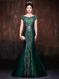 Forest Green Elegant Mermaid Fitted Lace Formal Evening Prom Dress wit