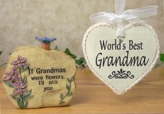 Ornament And Decorative Rock With Message Is Engraved World S Best Grandma The Stone If Grandmas Were Flowers I D