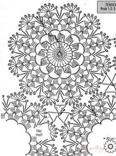 Flores crochet by dolly Crochet Motif Patterns, Crochet Mandala, Crochet Diagram, Crochet Chart, Crochet Squares, Thread Crochet, Crochet Flowers, Crochet Dollies, Crochet Lace