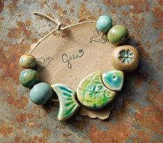 Gaea Ceramic Bead and Art Studio Blog - Ocean blue and green sectional fish ceramic bead set - gaea.cc