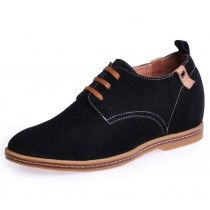 Black casual height increasing shoe become tall 6cm / 2.36inches