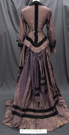 Purple silk brocade dress c.1870's