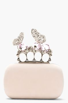 ALEXANDER MCQUEEN Pink Suede Crystal Encrusted Butterfly Knucklebox Clutch **** a girl can dream****