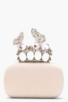 ALEXANDER MCQUEEN Pink Suede Crystal Encrusted Butterfly Knucklebox Clutch -ShazB
