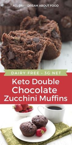 Healthy double chocolate zucchini muffins for easy keto breakfast! Make a big batch of these dairy-free keto muffins for busy mornings. Keto Cupcakes, Keto Cookies, Low Carb Sweets, Low Carb Desserts, Dessert Recipes, Double Chocolate Zucchini Muffins, Keto Muffin Recipe, Muffin Recipes, Low Carb Breakfast