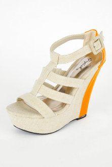 WM Shoes Finder T-Strap Wedge Sandals in Beige