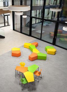 Innovative, farbenfrohe Polsterhocker PENTA werden bei Interpädagogica präsentiert Table, Furniture, Home Decor, School, Architecture, Decoration Home, Room Decor, Tables, Home Furnishings