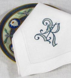 Rowan Monogram napkins and placemats. http://bellalino.com/Luxury%20Table%20Linens/rowan_signature_table.htm