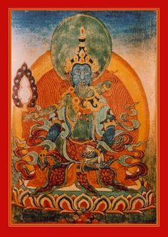 Vajrapani and Nirtima; in the southwest, auditory consciousness embraces sound. Thunderbolt Holder embodies yogic power and wields a diamond scepter to symbolize the end of suffering. Dancing Girl holds a treasure vase which contains the nectar of immortality.