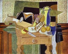 """Page: Still Life with """"Le Jour""""    Artist: Georges Braque    Completion Date: 1929    Place of Creation: France    Style: Synthetic Cubism    Genre: still life    Technique: oil"""