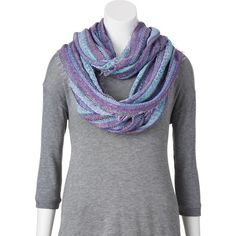 Croft & Barrow Striped Fringe Infinity Scarf, Size: One Size (Purple) ($15) ❤ liked on Polyvore