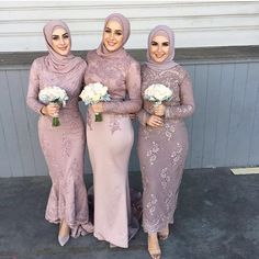 Stunning #Muslimah bridesmaids in mauve @dollhousebridesmaids #BellaNaijaBridesmaids